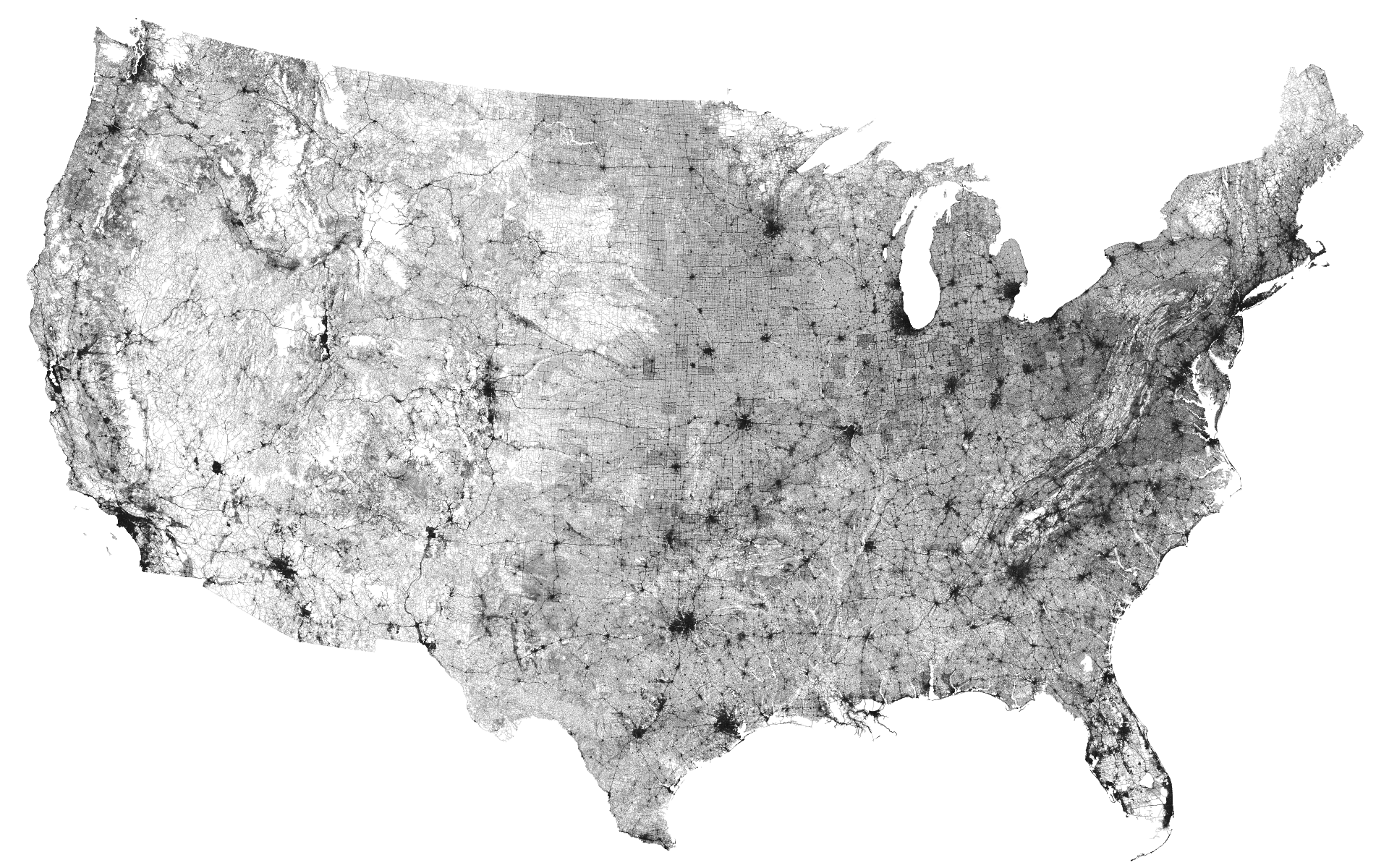 All the roads in the US